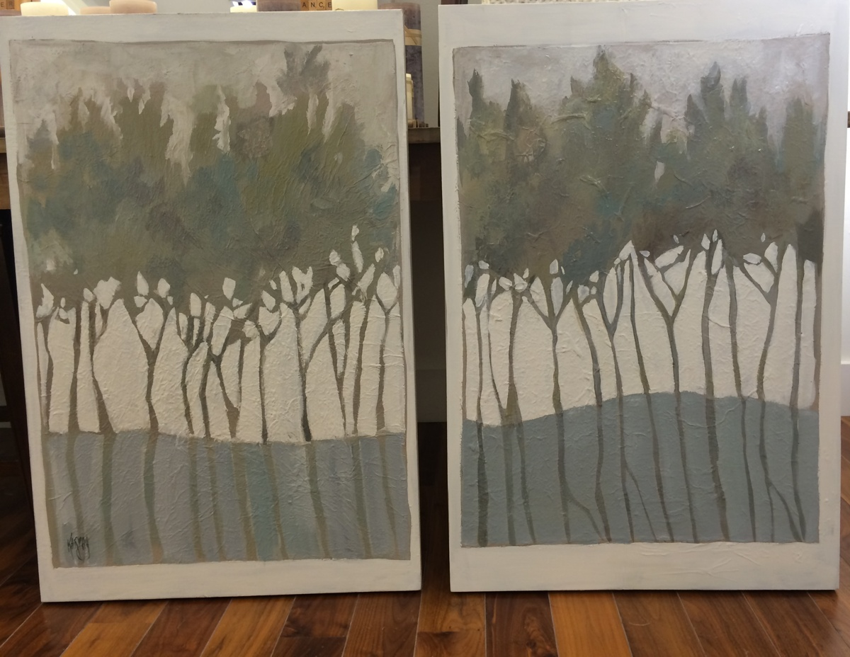 """Tree Line, Acrylic Diptych,  24"""" X 36"""" each panel (large view)"""