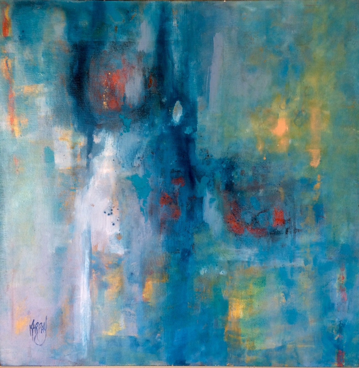 "Turquoise Blue,  30"" X 30""  acrylic (large view)"