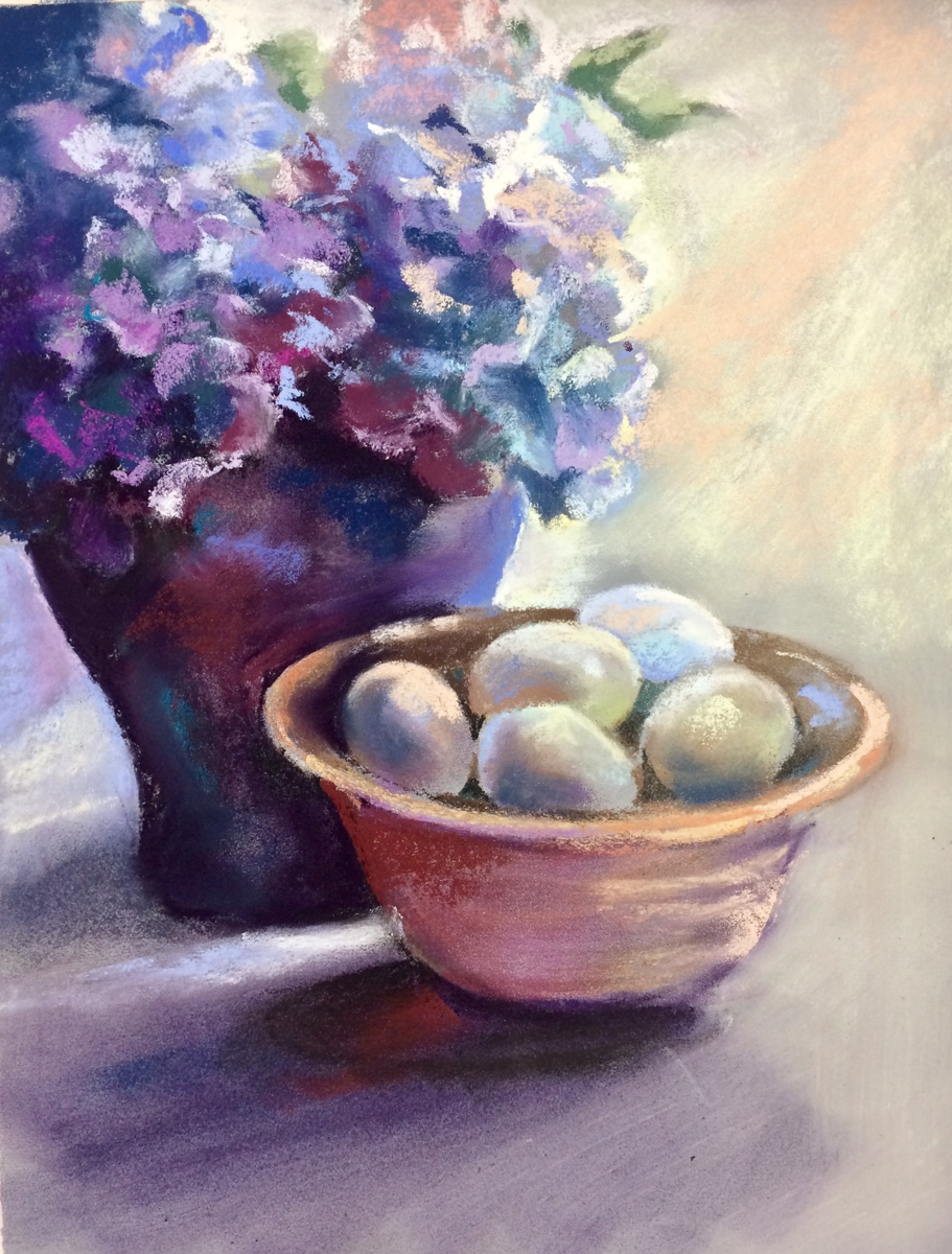 Hydrangeas and Eggs (large view)