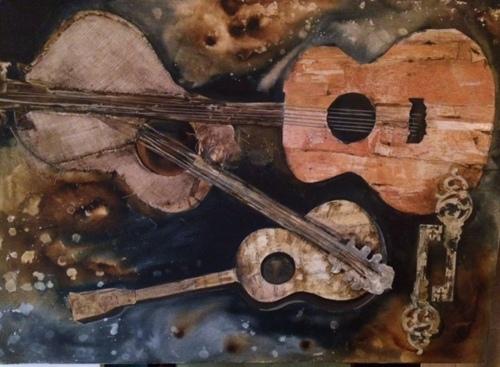 """Guitar -O-Rama, 30"""" X 40"""" mixed media (large view)"""