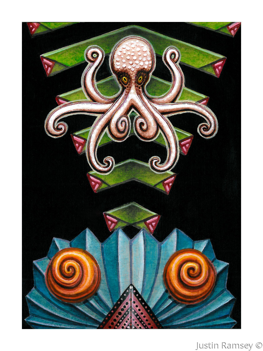 Second in a series of symmetrical octopus pose pieces.  This is an original acrylic painting on a 1-3/8 inch deep cradled birch panel. (large view)