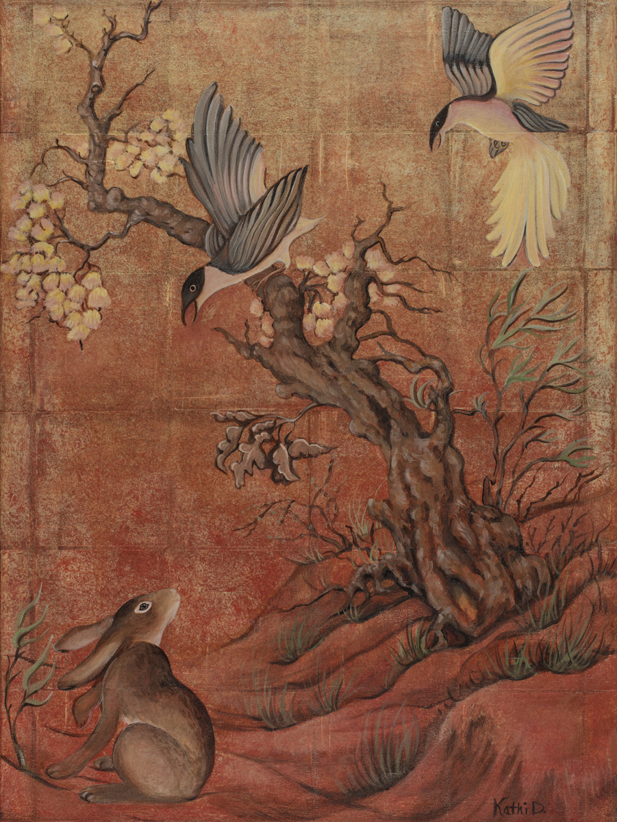 Asian Inspiration Rabbit and Birds by Kathi Dugan (large view)