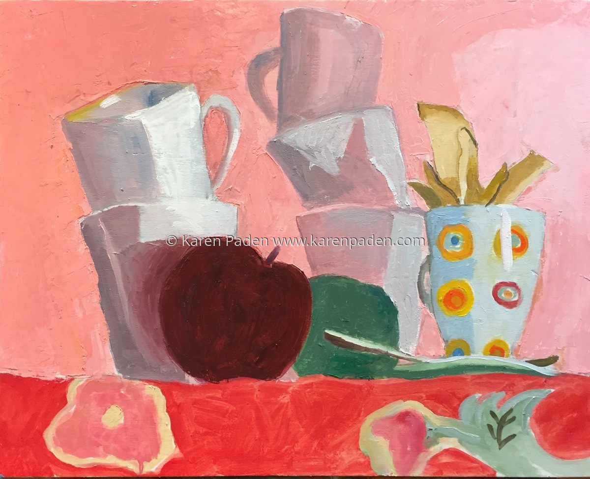 cups, kiwi and apple (large view)