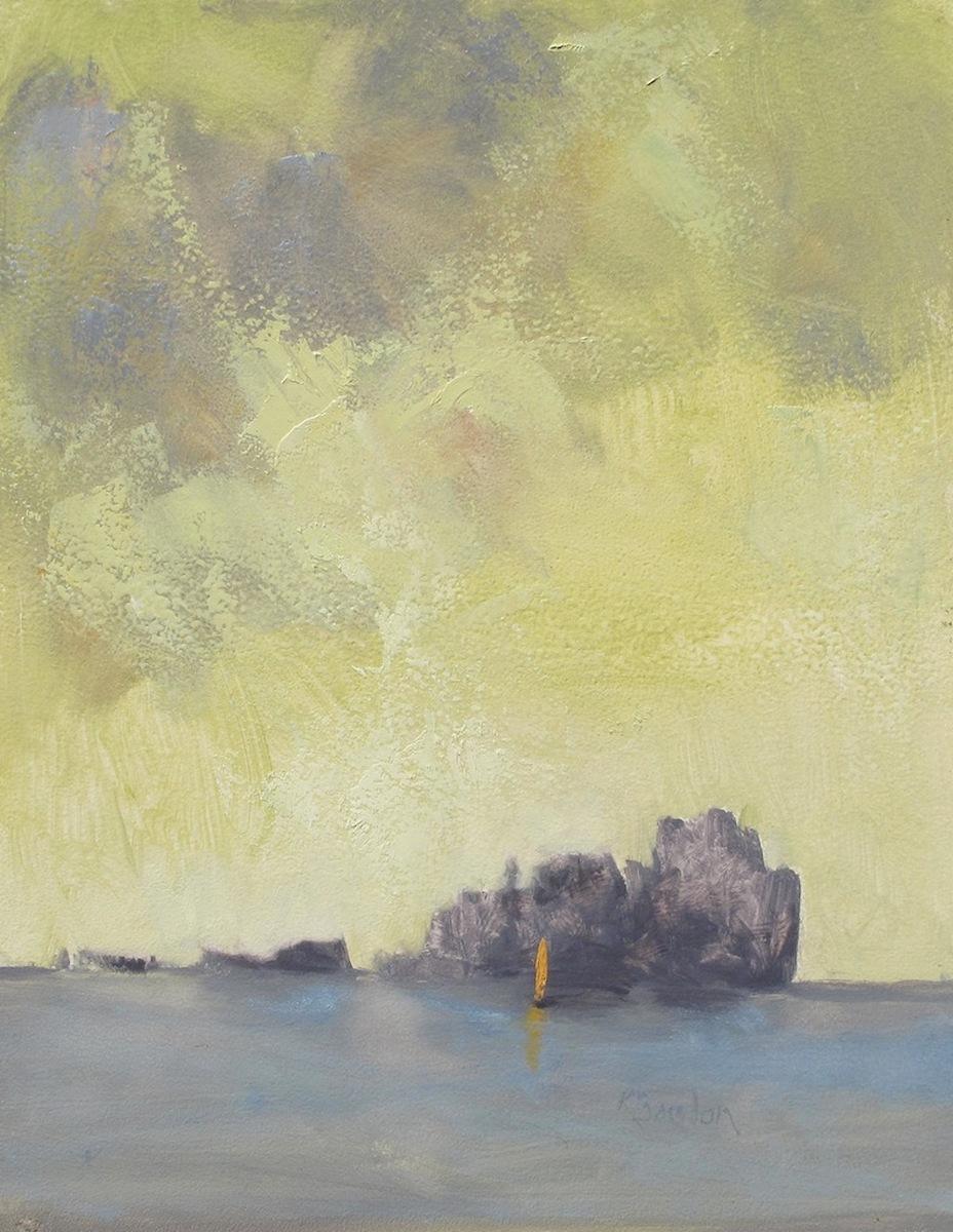 Sailing Past Carval Rock Under a Lemon Sky (large view)