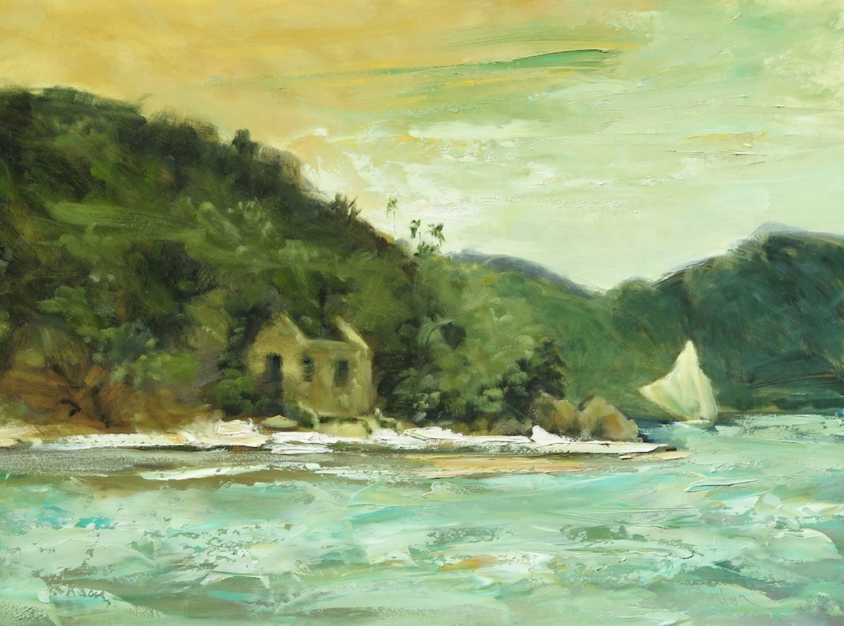 Tortola Sloop Sailing the Narrows (large view)