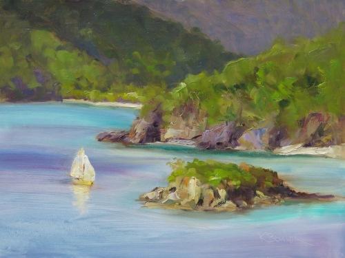 Sailing Past Cinnamon Cay From Maho Bay (large view)