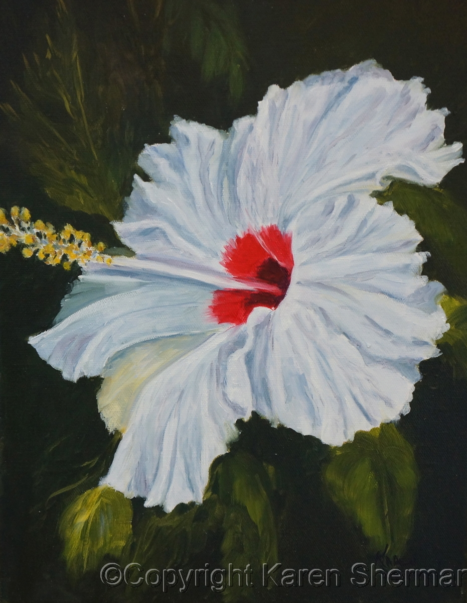 """""""White Hibiscus 30"""" (large view)"""