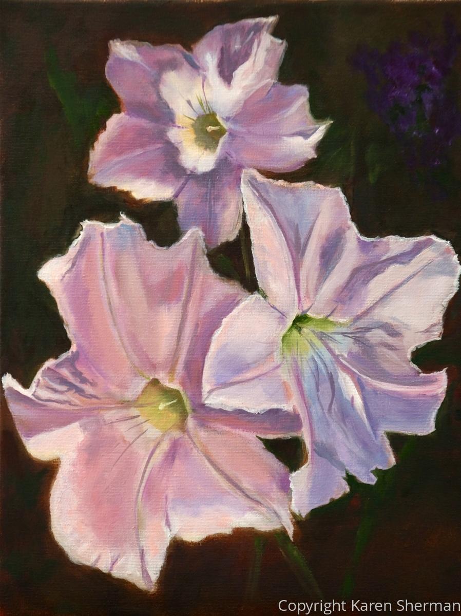 """""""Three Petunias"""" (large view)"""