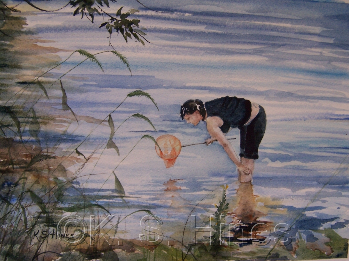 Watercolor of a young girl exploring the New River. (large view)