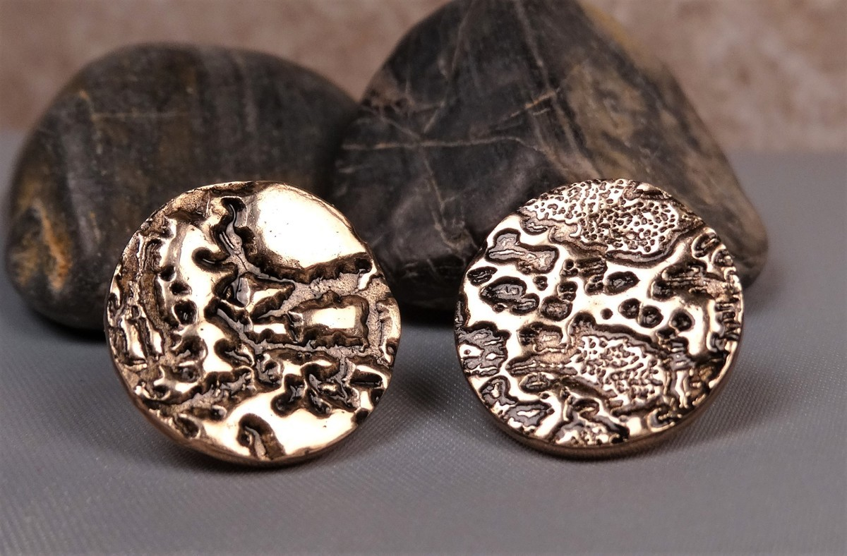 'Moonscape' Gold Bronze Cufflinks (large view)