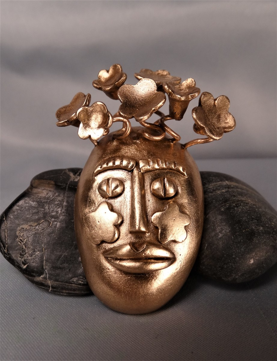 'The Game of Masks' Gold Bronze Pin/Pendant (large view)