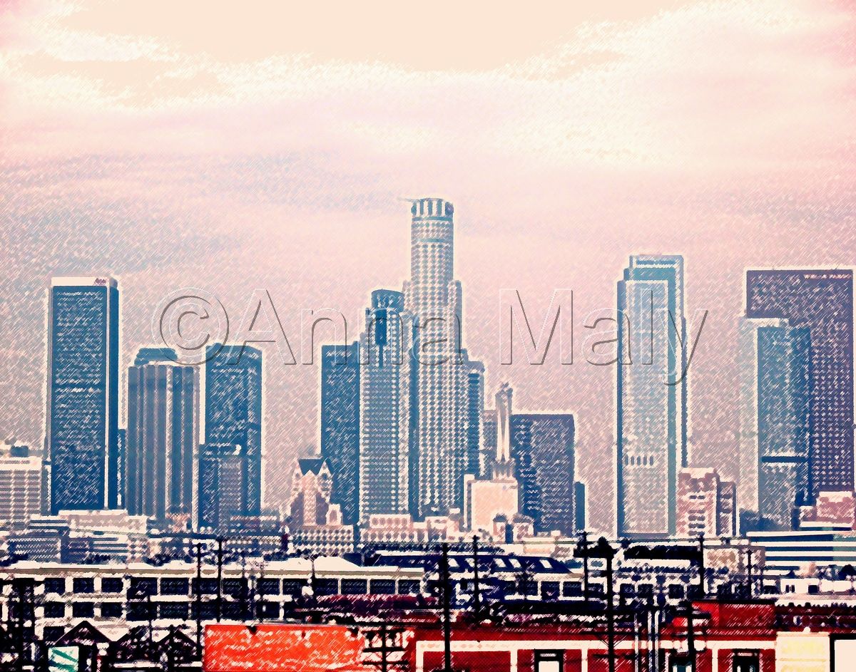 Downtown Los Angeles (pink smog) (large view)