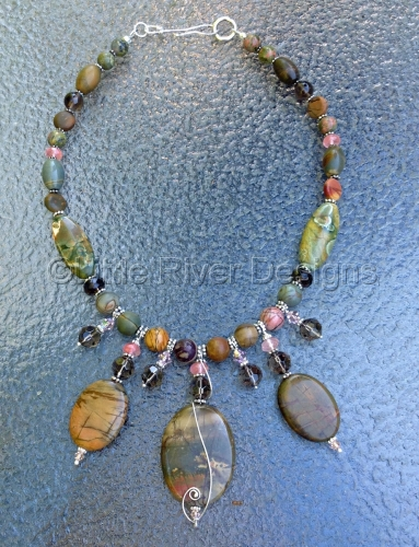 Jasper and Sterling Statement Necklace