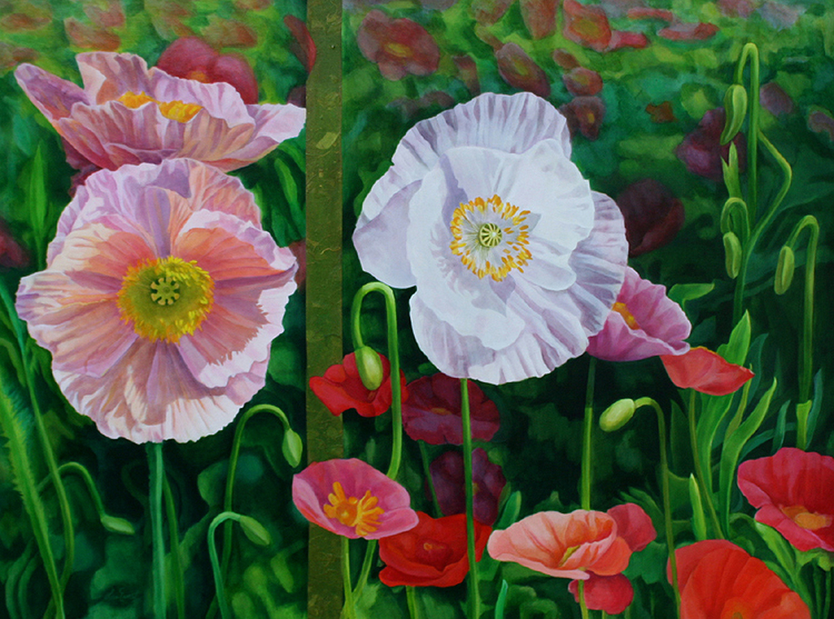 "Poppy Diptych, 36"" x 48""  (large view)"