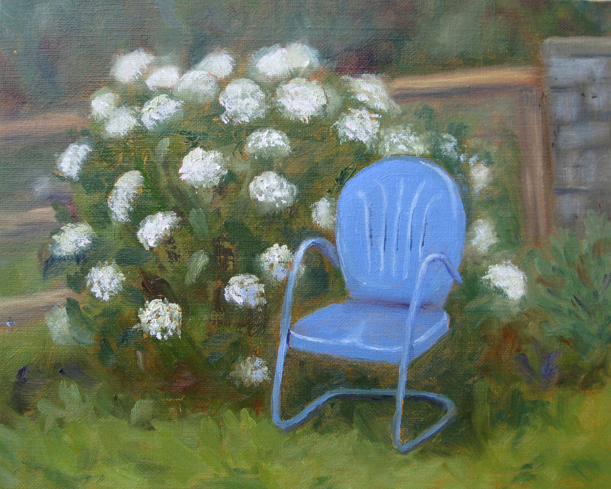Blue Chair and Hydrangea (large view)