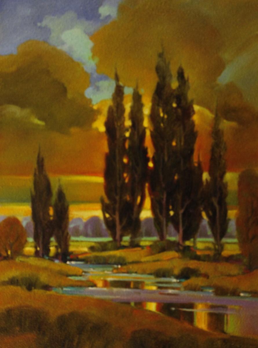 Sundown Poplars (large view)