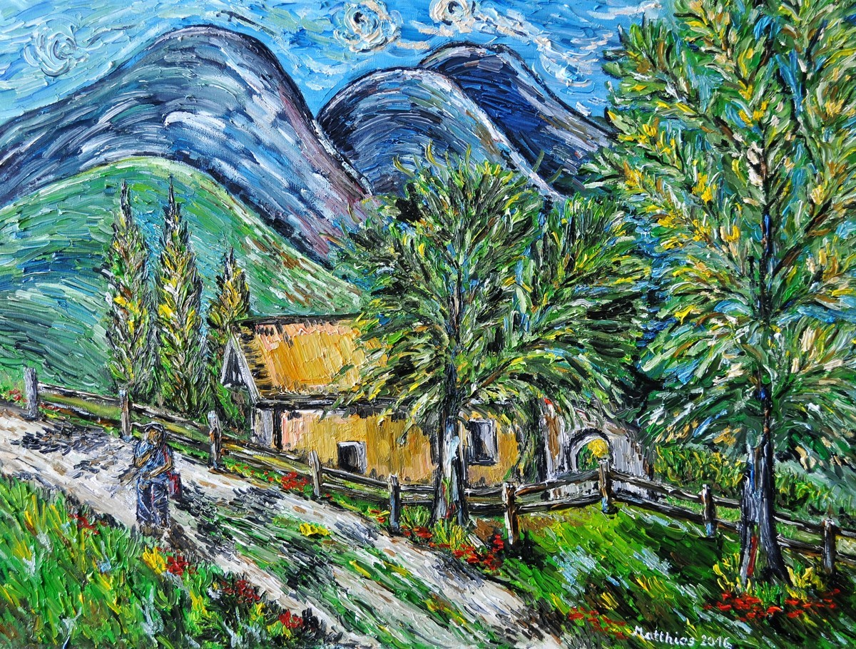 Chapel with Olive and Cypress Trees         (large view)