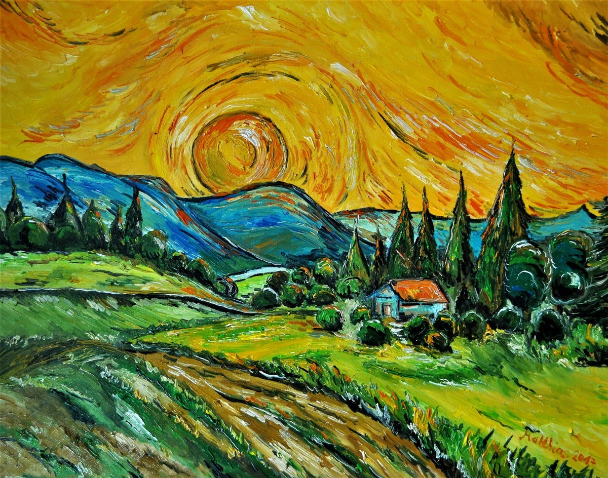 House with setting Sun             (large view)