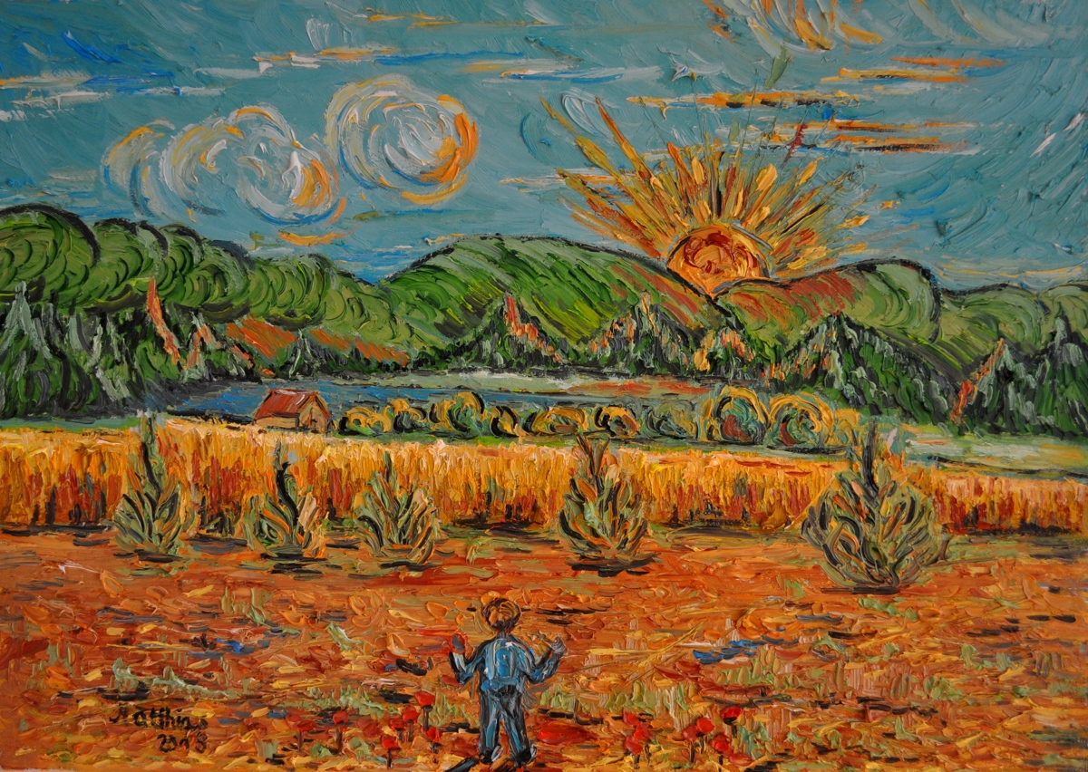Setting Sun with Fields and Man standing                    (large view)