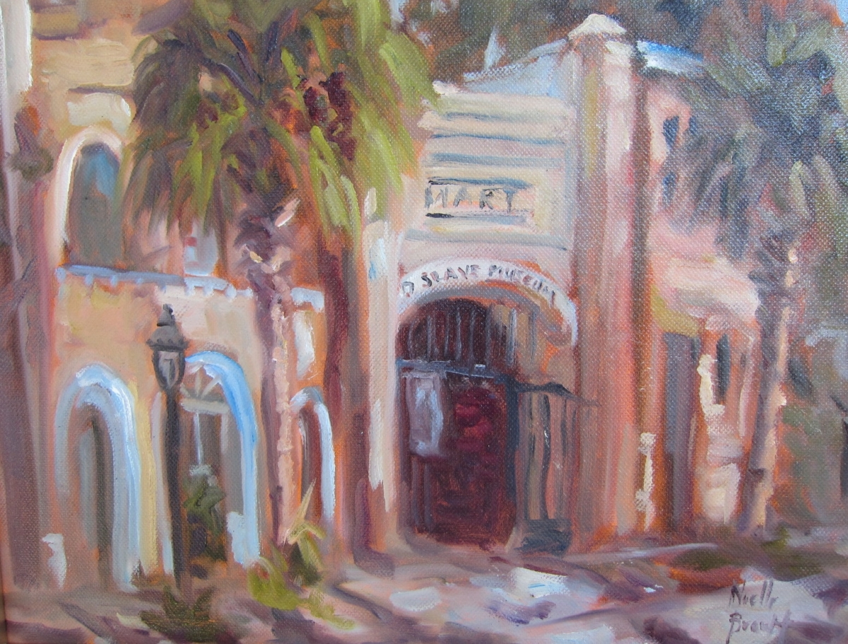 Plein Air painting on Chalmers Street in Charleston at Oil Painter's of American Paint Out - October  (large view)