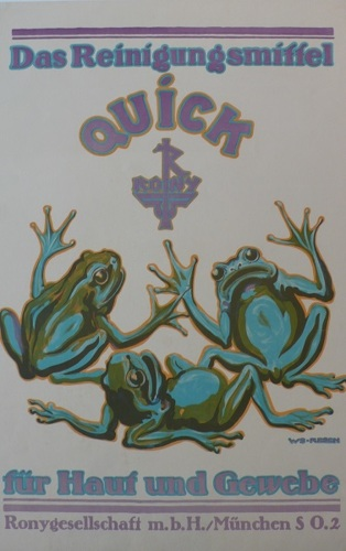 Quick, Resch, German poster, cleaning, fluid, 1913, frog, original,  (large view)