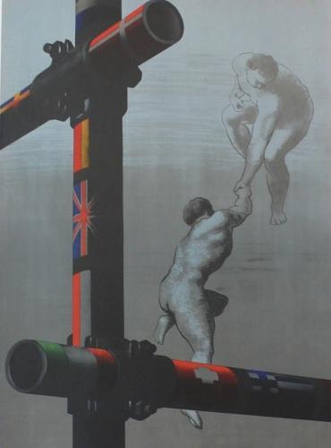 Marshall Plan, Marshall, Plan, Scaffolding, 1948, two men, flags, europian, original, poster (large view)