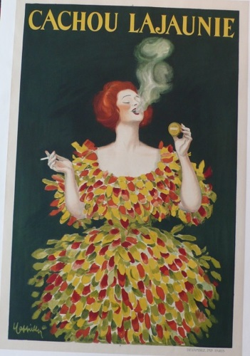 Cachou Lajaunie, Leonetto Cappiello, breath mint, color, woman, amazing, beautiful, smoking, original, poster (large view)