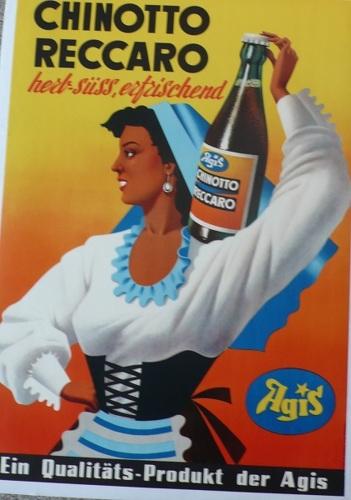 Chinotto Reccaro, 1970, Swiss, woman, beverage, food, large, original, poster (large view)