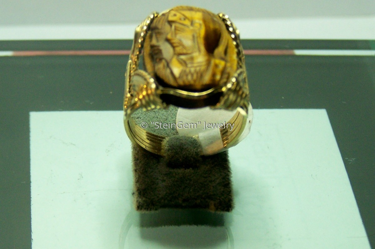 Gold Filled Tiger Eye Cameo Ring (large view)