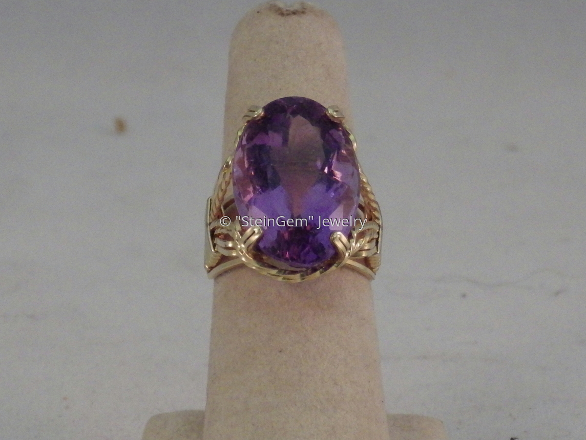 Amethyst Prong Set Ring (large view)