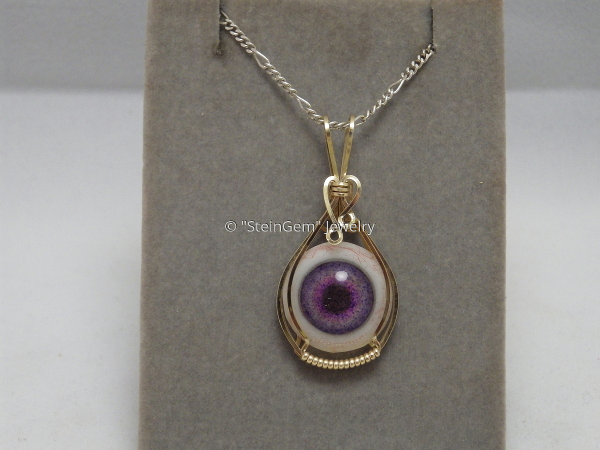 Lavender Glass Eye & Gold Filled Wire Pendant (large view)