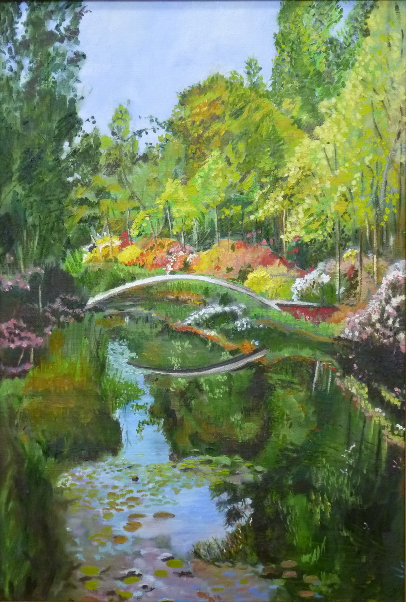 inspired by Monet's water liliey paintings, this work is part of a series on water lilies. (large view)