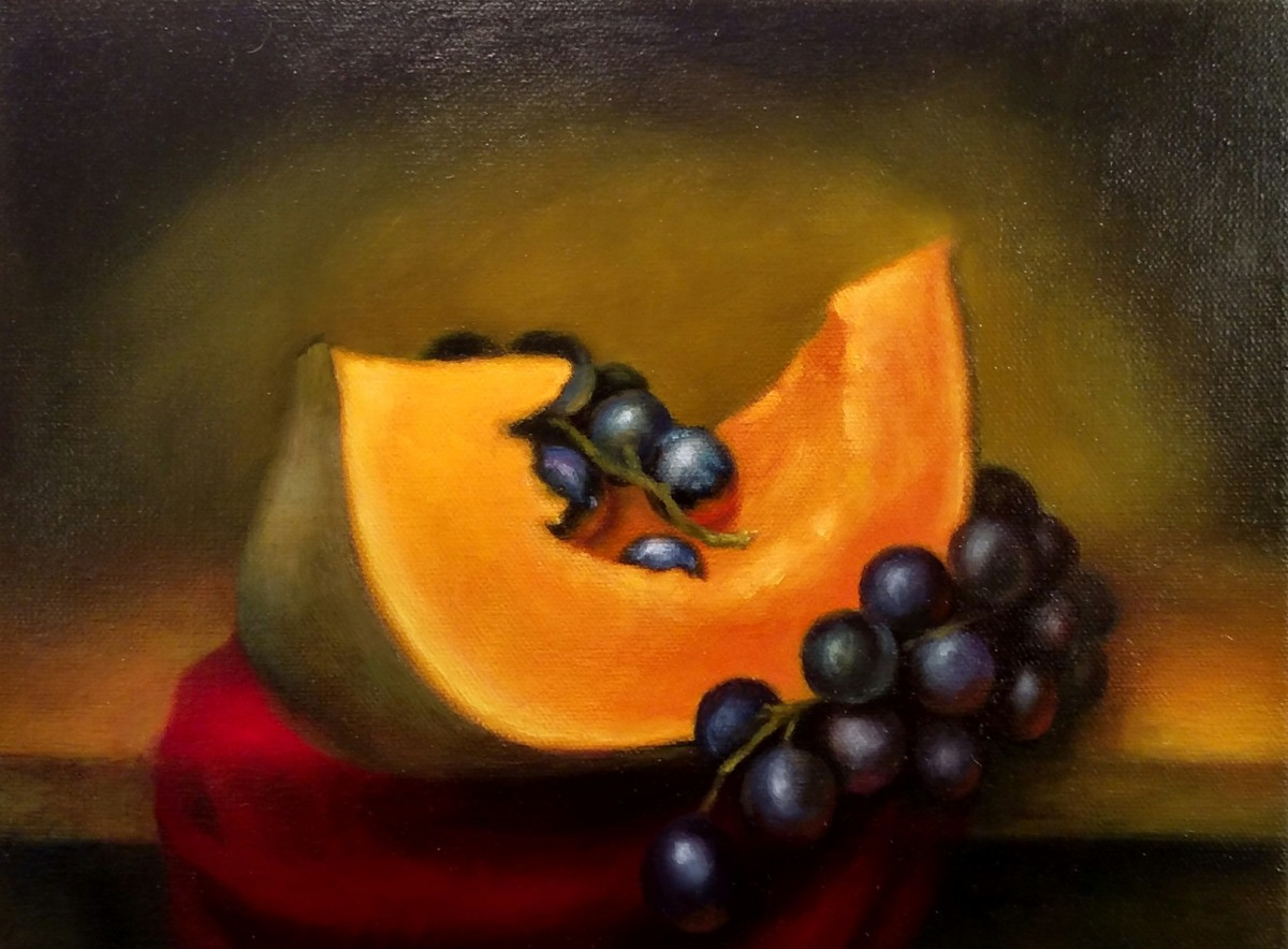 Still Life with Pumpkin and Grapes  (large view)
