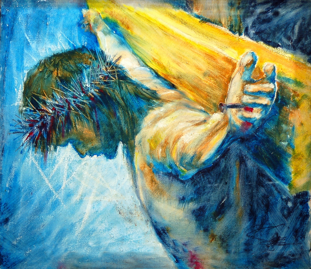 This work and the studies were created within a film project that portrays the last day of Jesus through art.  We tend to focus on the divine nature of Jesus as the Christ, but find it hard to relate to Jesus as a real person, but he was very real, and at (large view)