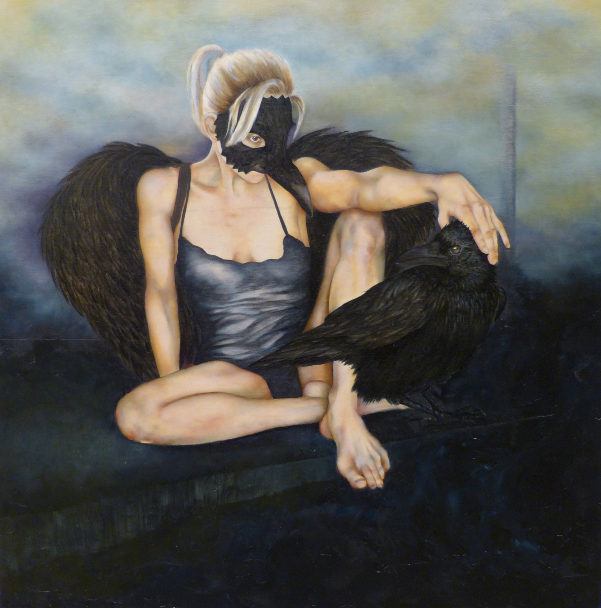 blonde woman in raven mask and wings sitting with a raven (large view)