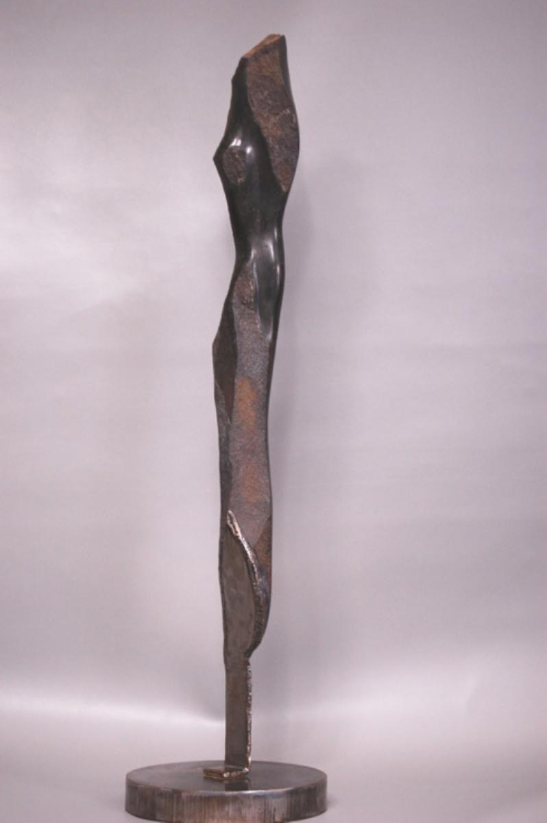 Basalt Sculpture with Metal Base (large view)