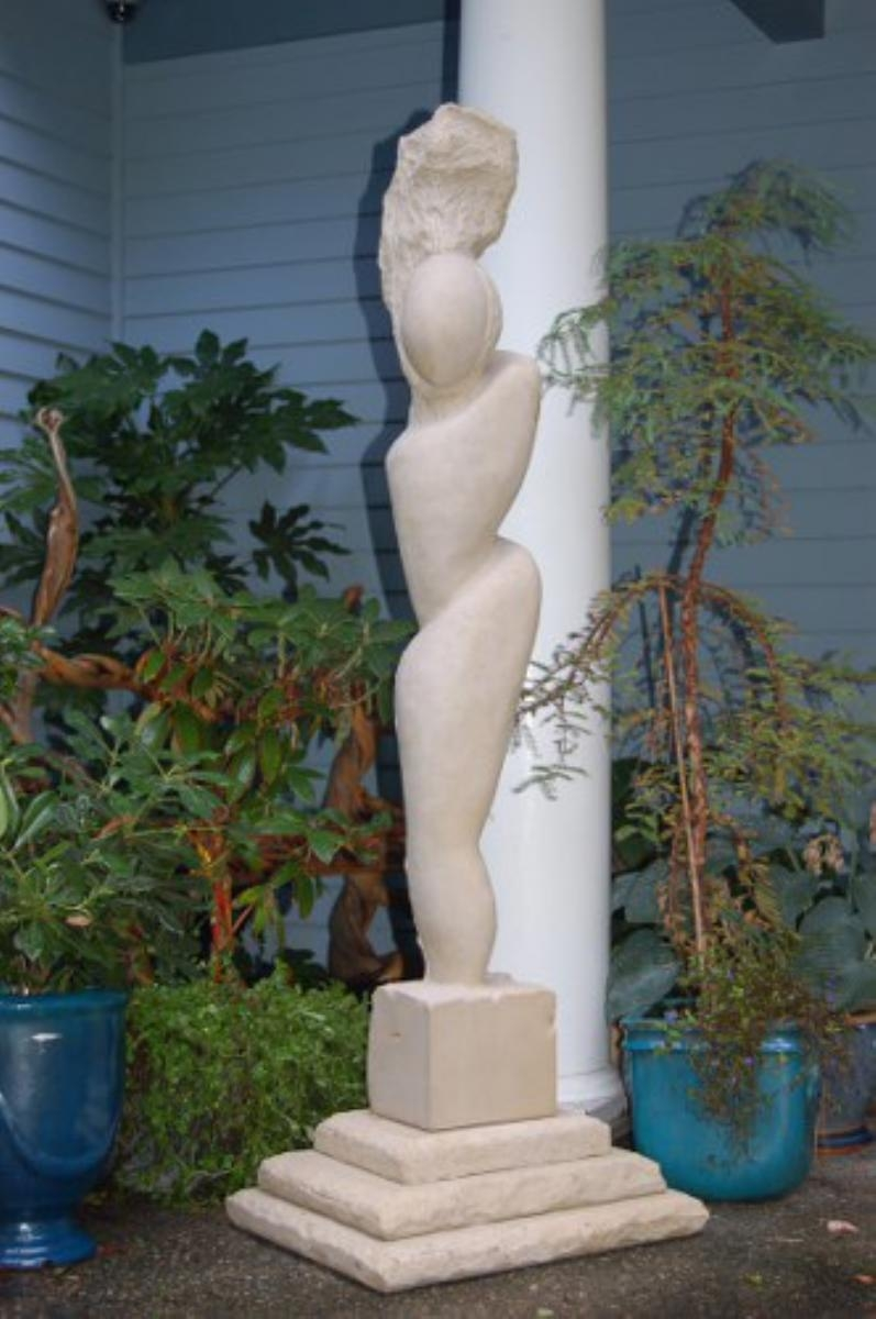 Limestone Sculpture with Limestone Base (large view)