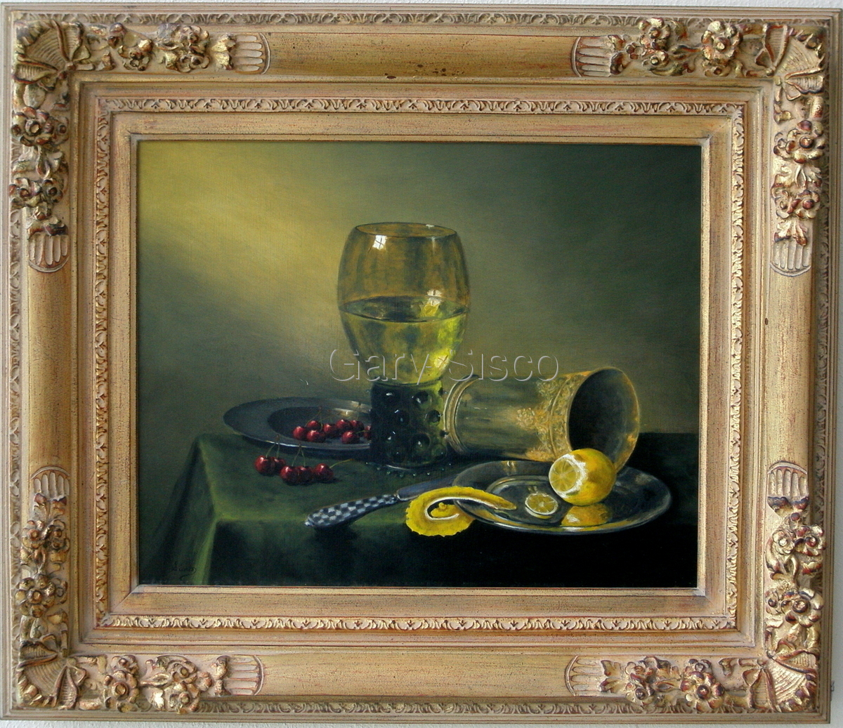 Old  Master with Glass, Cherries and Lemon (large view)