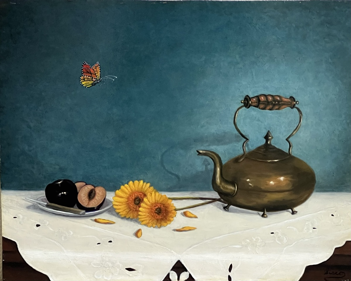 Plums, Sunflowers and Tea Pot (large view)