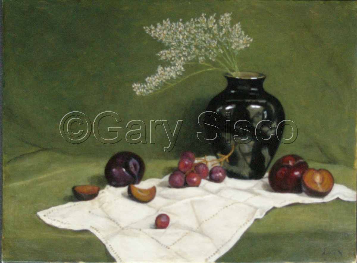 Plums, Grapes and Black Vase (large view)