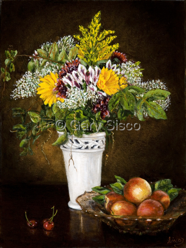 Still life with flowers and Peaches (large view)