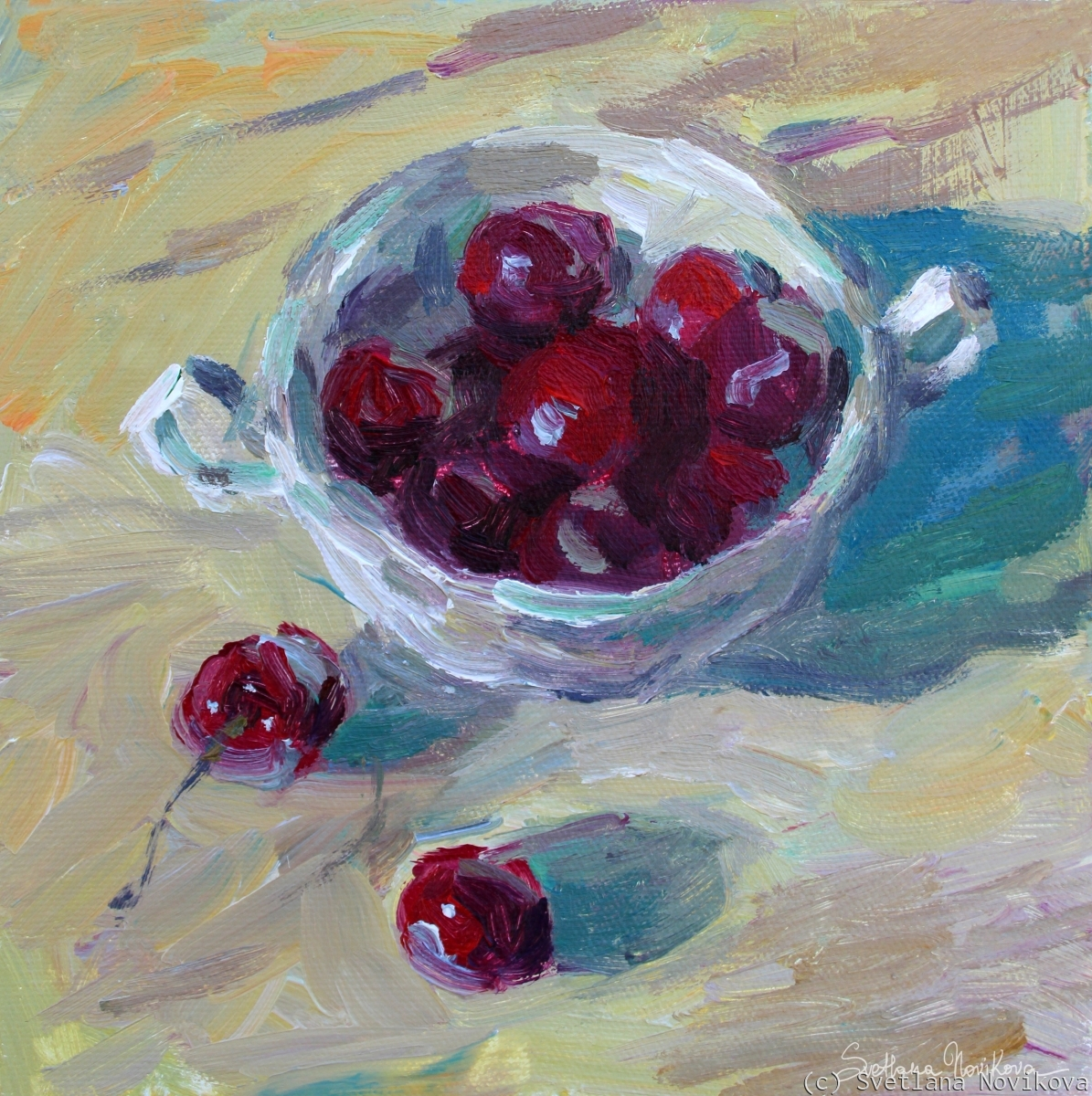 Colorful acrylic painting of cherries in a cup still life painting by impressionist painter Svetlana Novikova (large view)