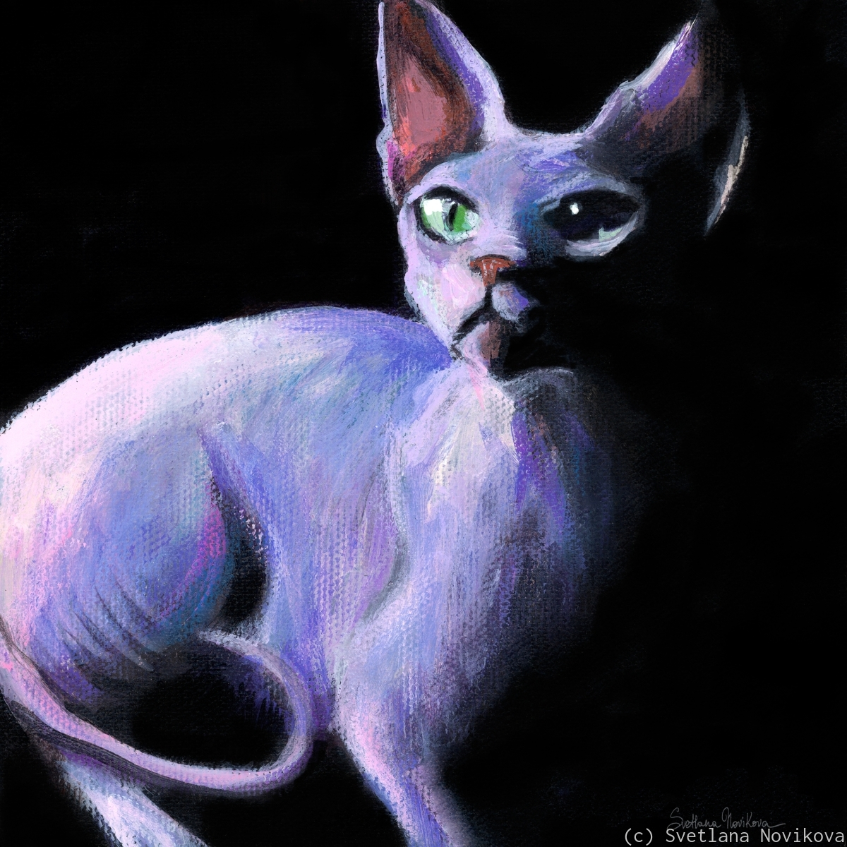 Dramatic Sphynx Cat painting print Svetlana Novikova (large view)