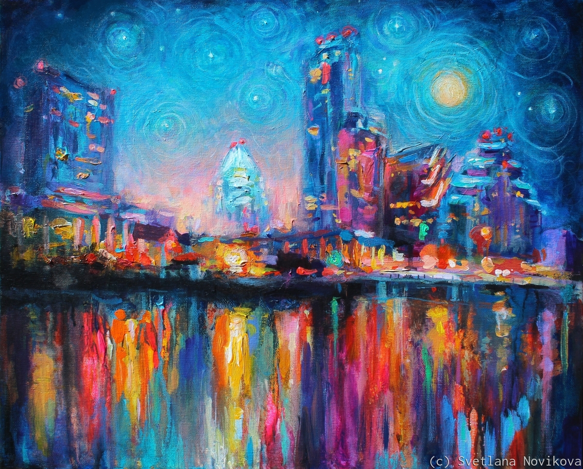 impressionistic Austin night city skyline painting with texture (large view)