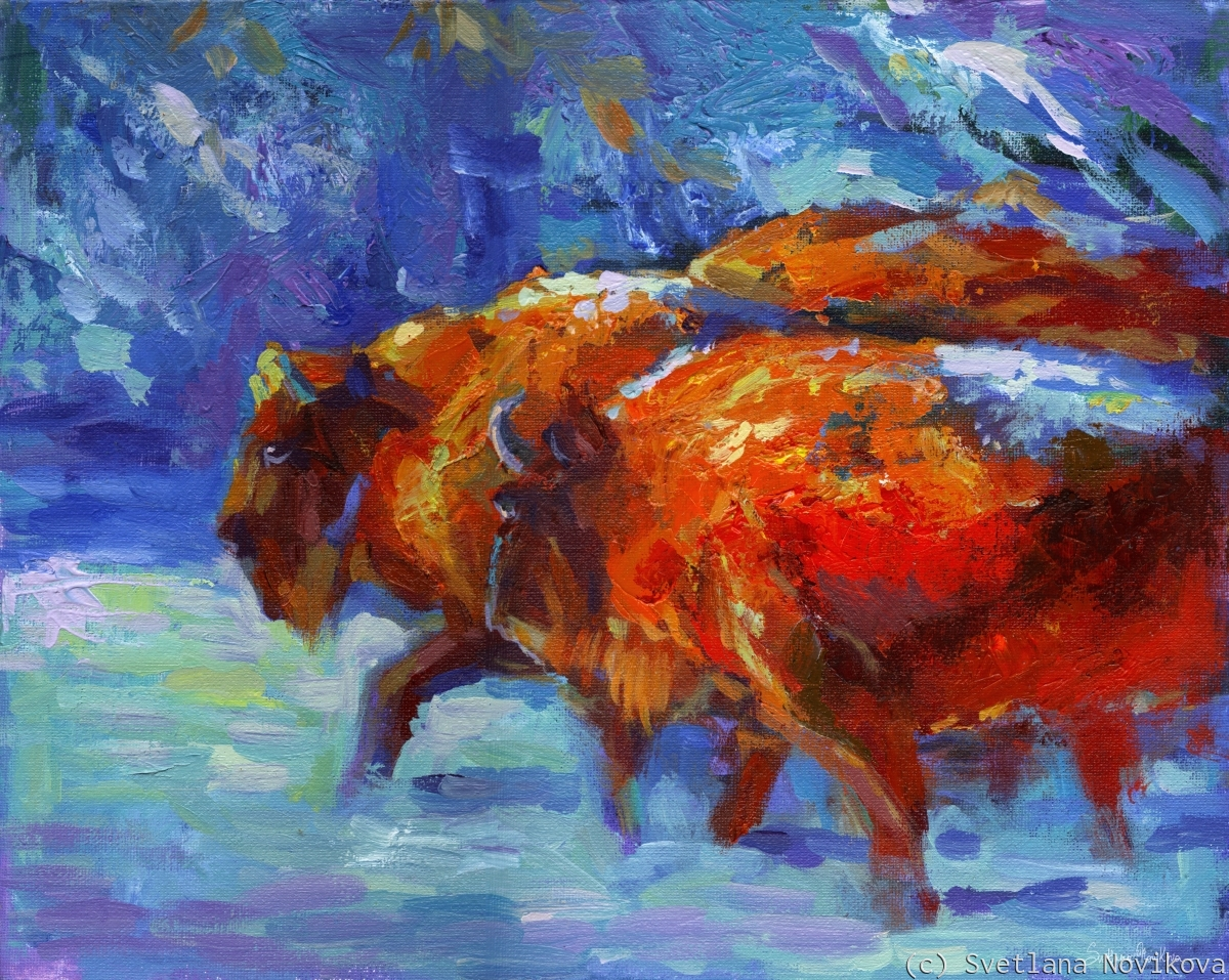 Vibrant original painting of two buffalos in the snow forest by Svetlana Novikova (large view)