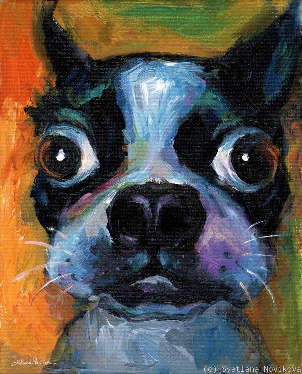 Whimsical Boston Terrier dog painting (large view)