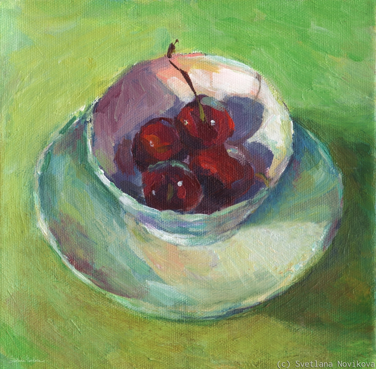 Beautiful impressionistic juicy cherries in a cup still life original painting for sale by Svetlana Novikova (large view)