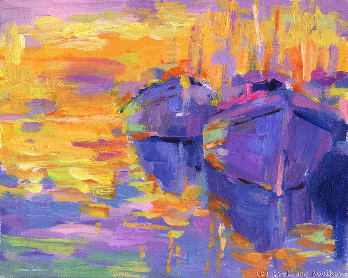 Colorful boats and sunset original painting done in the impressionistic style by Svetlana Novikova, prints are available on museum quality paper and canvas, framed and unframed (large view)