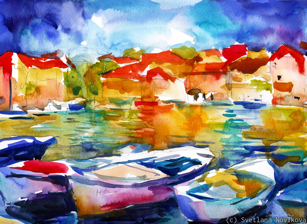 European port boats watercolor painting by Svetlana Novikova (large view)