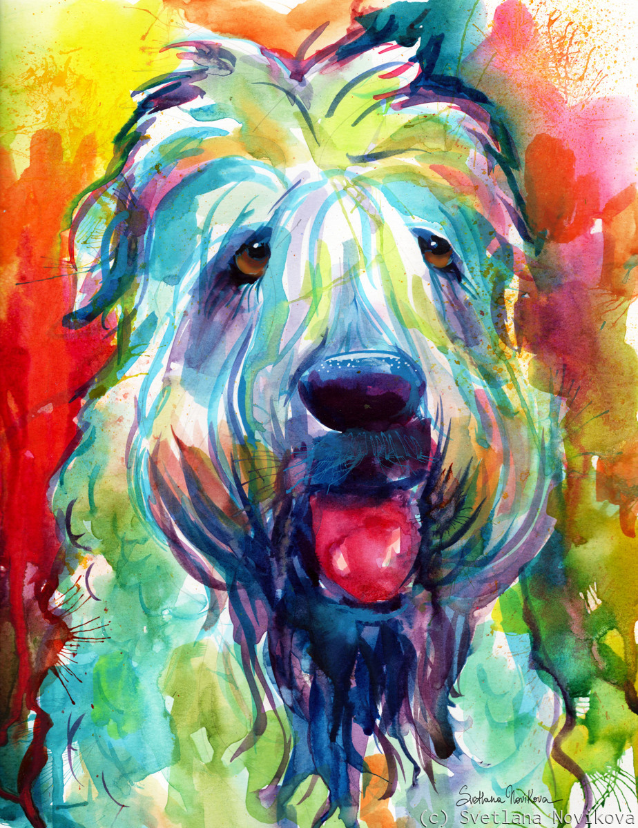 Wheaten Terrier Dog painting (large view)